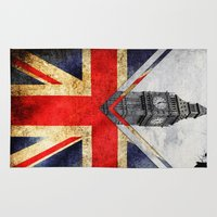 uk Area & Throw Rugs featuring Flags - UK by Ale Ibanez
