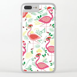 FLAMINGO CHRISTMAS Clear iPhone Case