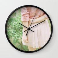 peach Wall Clocks featuring Peach by Mariam Sitchinava