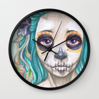 gemma correll Wall Clocks featuring Blue Sugar Skull by Gemma Pallat by ToraSumi