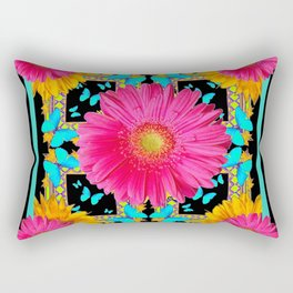 Western Black & Puce Pink Flower Blue Butterfly Yellow Floral Art Rectangular Pillow