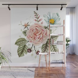 Rose and Foxglove Watercolor Florals Wall Mural