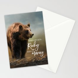 Grizzly On The Rocks Stationery Cards