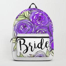 Bride Wedding Bridal Purple Violet Lavender Roses Watercolor Backpack