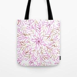 Girly blush pink brown watercolor floral mandala Tote Bag