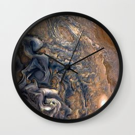 Swirling Clouds of Planet Jupiter Close Up from Juno Cam Wall Clock