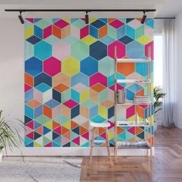 Super Bright Color Fun Hexagon Pattern Wall Mural