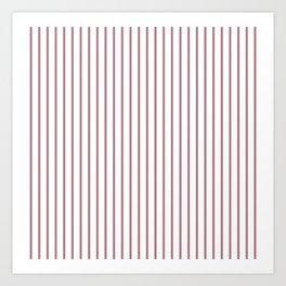 Princess Plum Pinstripe on White Art Print