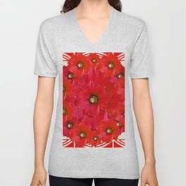 AWESOME RED FLOWERS BOUQUET PATTERN ABSTRACT ART Unisex V-Neck