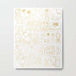 Mayan Glyphs - gold palette Metal Print