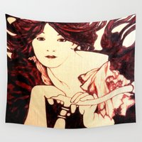 nouveau Wall Tapestries featuring Nouveau Rider by Neelie
