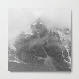Rocky Mountain Fog B&W Metal Print