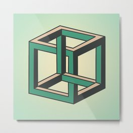 Impossible Cube Metal Print