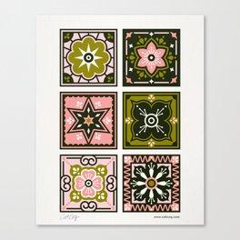 Talavera Mexican Tile – Blush & Sage Palette Canvas Print