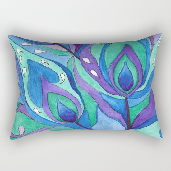 Watercolor . Abstraction . The peacock feather . 1 Rectangular Pillow