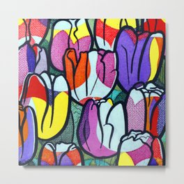 Unique Vibrant Tulips with Tulip-Pattern Overlay Illustration Metal Print