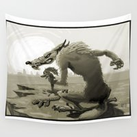 coyote Wall Tapestries featuring Angry coyote by MenoTonik