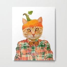 Orange Pumpkin Cat // Fall Decor Metal Print