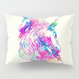 Watercolor Unicorns Abstract Rainbow Neon Colors Pillow Sham