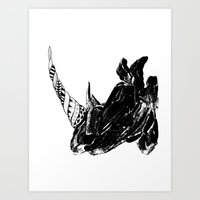 Monoprint Rhino Art Print