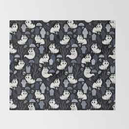 Ghost Cats in the Cemetery Throw Blanket
