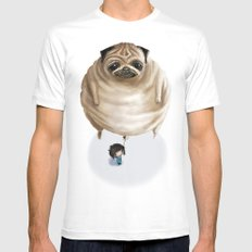 The Pug White Mens Fitted Tee MEDIUM