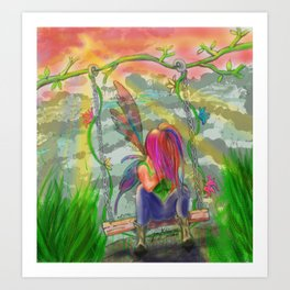 Fairy on Swing - Hand Drawn Fantasy Artwork Art Print