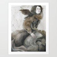 inner demons Art Prints featuring Demons by Jana Heidersdorf Illustration