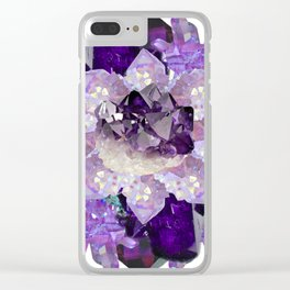 Violet Crystal Explosion Mandala Clear iPhone Case