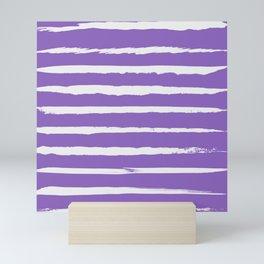 Irregular Hand Painted Stripes Purple Mini Art Print