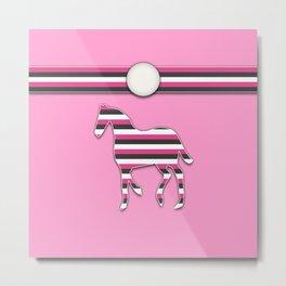 Horse Pink Stripes Animal Pattern Design Metal Print