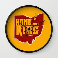 lebron Wall Clocks featuring Home of the King (Yellow) by Denise Zavagno