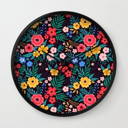 25 Amazing floral pattern with bright colorful flowers. Dark background. Wall Clock