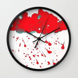 Red Red Clouds Wall Clock