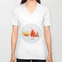 chicken V-neck T-shirts featuring Chicken by Ingo H. Klett
