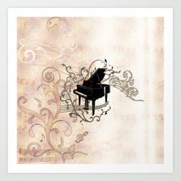 Music, piano with key notes and clef Art Print