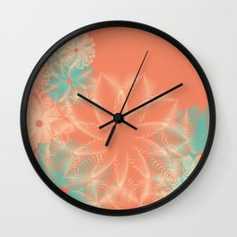 Abstract Floral in Teal and Coral Wall Clock
