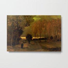 Autumn Landscape at Dusk by Vincent van Gogh Metal Print