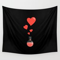 chemistry Wall Tapestries featuring Love Chemistry Flask of Hearts by Boriana Giormova