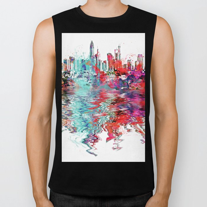 Utopia mixed media city art Biker Tank