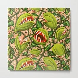 Halloween Monster Plant - Pink Metal Print
