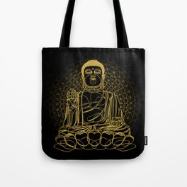 Golden Buddha on Black Tote Bag