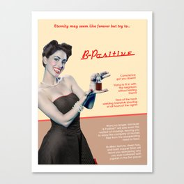 """B-Positive"" - The Playful Pinup - Vampire Parody Pinup Girl Ad by Maxwell H. Johnson Canvas Print"