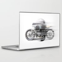 cafe racer Laptop & iPad Skins featuring SKULL AND CAFE RACER by Joedunnz