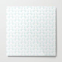 Dachshunds pattern in mint Metal Print