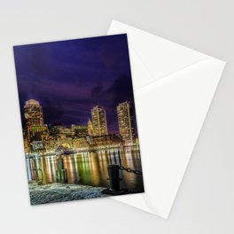 Boston Harbor with Christmas lights. Stationery Cards