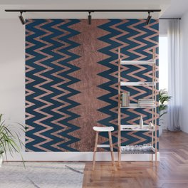 Navy blue faux rose gold watercolor geometric chevron Wall Mural