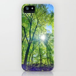Perfect lens flare in a summer afternoon in the forest iPhone Case