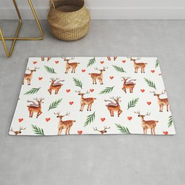 Cute brown reindeer at the forest with scarf. Vintage christmas animals watercolor hand painted illustration pattern. Rug