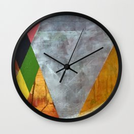HONORING JJ argyle abstract geometric oil on panel painting by Rosti Eismont Wall Clock